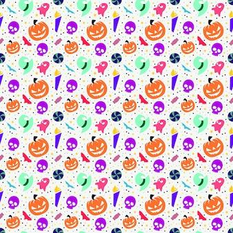 Kleurrijk collectie halloween naadloos patroonontwerp