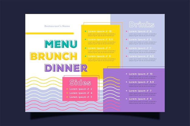 Kleurrijk concept voor restaurant menusjabloon