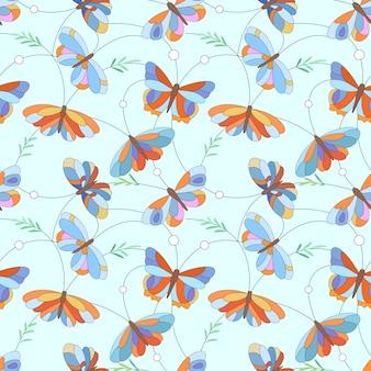 Kleurrijk de stoffen textielbehang van het vlinder naadloos patroon.