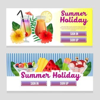 Kleurrijk de zomerthema van de webbanner met verfrissing drinkt vectorillustratie
