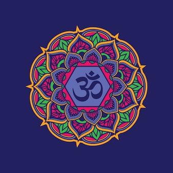 Kleurrijk decoratief mandalapatroon met om symbool.