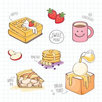 Kleurrijk dessert in doodle stijl.