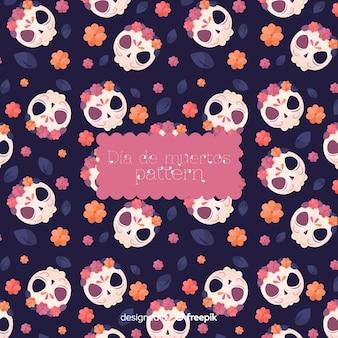 Kleurrijk dia de muertos patroon met schedels