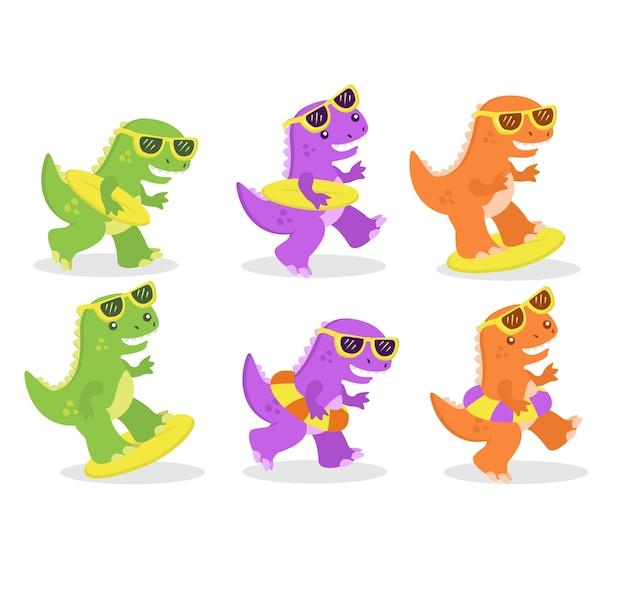 Kleurrijk dino-personage met zonnebril