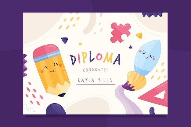 Kleurrijk diplomamalplaatje voor kinderen