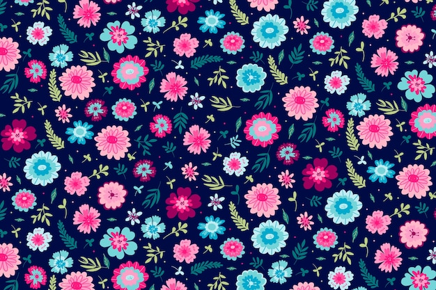 Kleurrijk ditsy bloemendrukthema als achtergrond