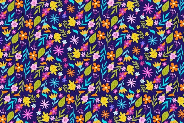Kleurrijk ditsy bloemenprint behang