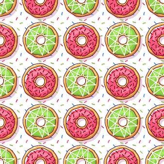 Kleurrijk donuts illustratie naadloos patroon