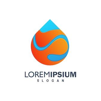 Kleurrijk druppel water logo