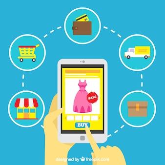 Kleurrijk e-commerce concept met vlak ontwerp