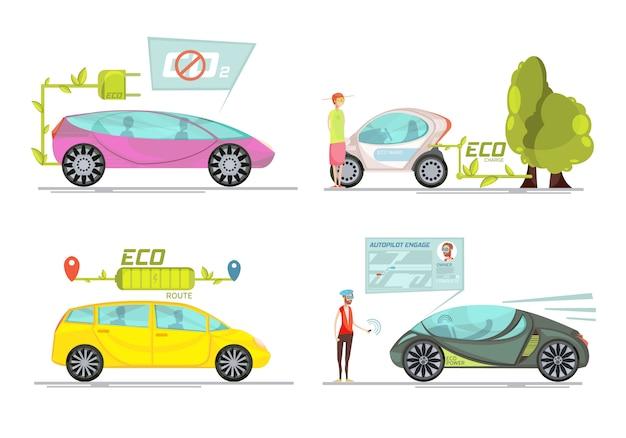 Kleurrijk eco vriendschappelijk elektrisch die auto's 2x2 concept op witte achtergrond wordt geïsoleerd