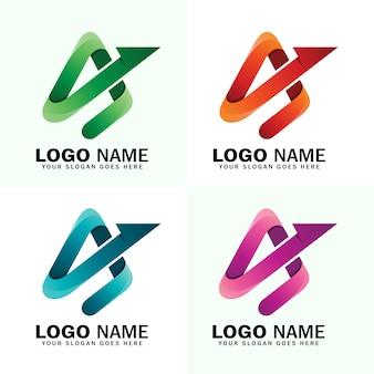 Kleurrijk eerste a-logo, abstracte letter a pijl logo sjabloon