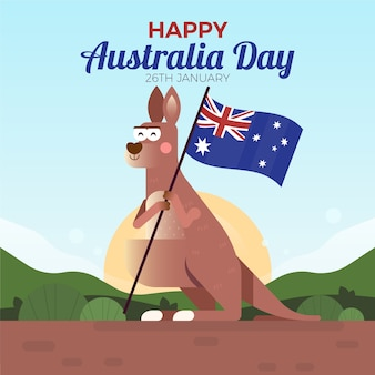 Kleurrijk en plat ontwerp met australië dagthema