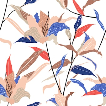 Kleurrijk en trendy moderne hand getekend lily bloem invullen met lijn en polka dots schets naadloze patroon vector,
