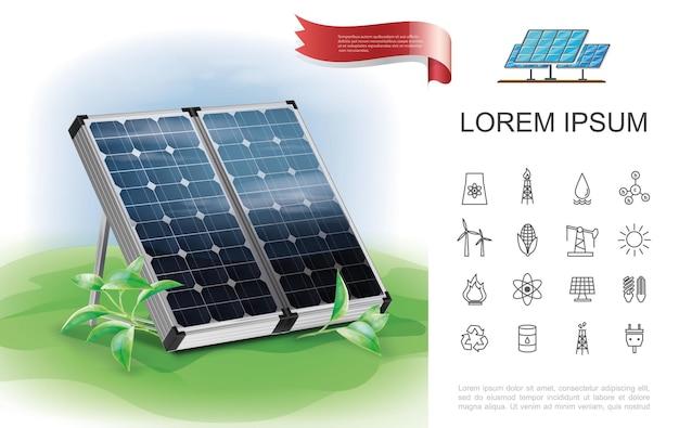 Kleurrijk energiebesparend eco-concept met realistische zonnepanelen en platte energie lineaire pictogrammen
