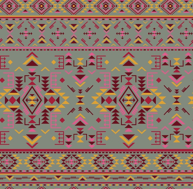 Kleurrijk etnisch naadloos patroon met geometrische vormen