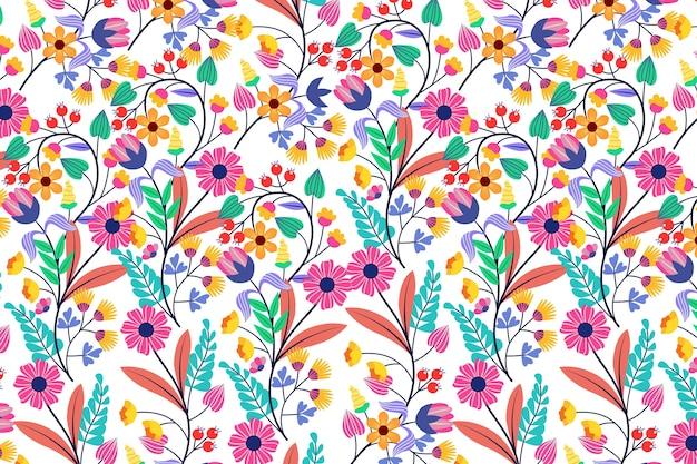 Kleurrijk exotisch bloemenbehangconcept