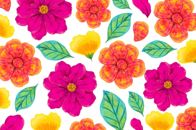 Kleurrijk exotisch bloemenconcept als achtergrond