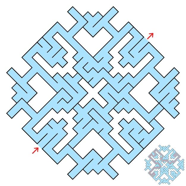 Kleurrijk fantastisch labyrint in de vorm van een diamant met een ingang en een uitgang.