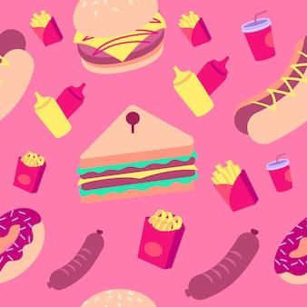 Kleurrijk fastfoodpatroon