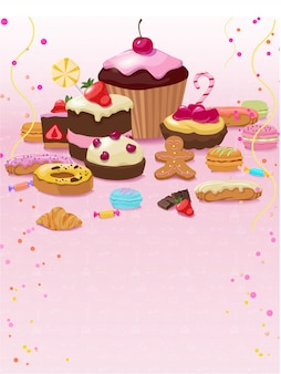 Kleurrijk gebak en zoetwarenmalplaatje