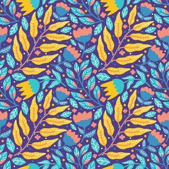Kleurrijk gebladerte en bloem naadloos patroon