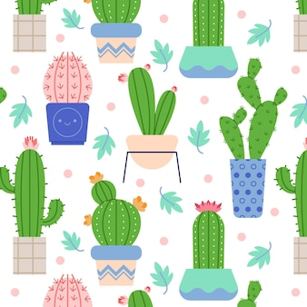 Kleurrijk geïllustreerd cactuspatroon