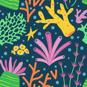Kleurrijk geïllustreerd koraalpatroon