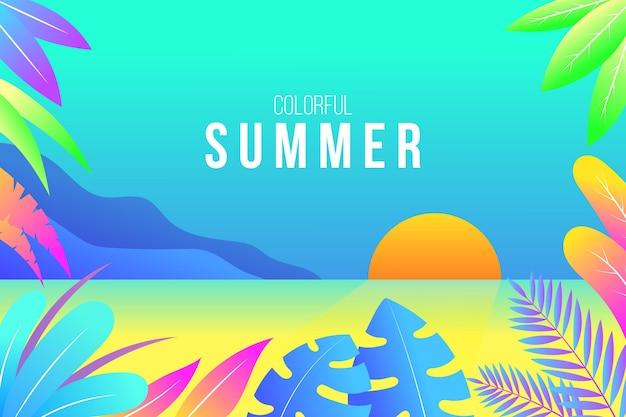 Kleurrijk geïllustreerd zomerbehang