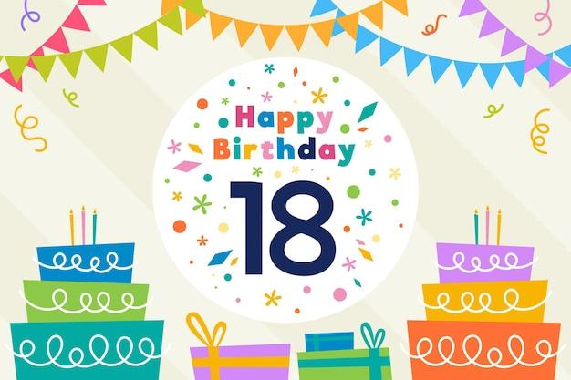 Kleurrijk gelukkig achttiende verjaardagbehang