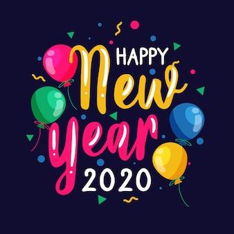 Kleurrijk gelukkig nieuw jaar 2020-van letters voorzien