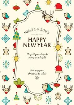 Kleurrijk gelukkig nieuwjaar en vrolijke kerstkaart