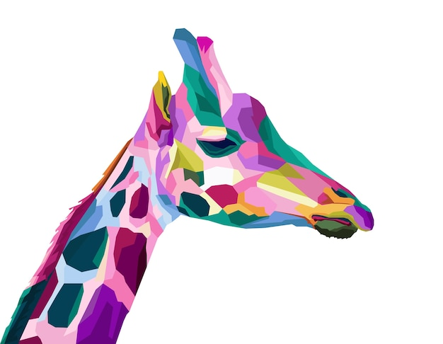 Kleurrijk geometrisch girrafepop-artportret