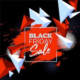 Kleurrijk geschilderde banner met geometrische vormen voor black friday