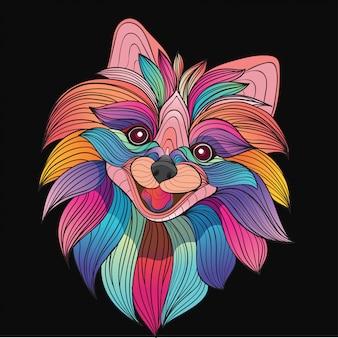 Kleurrijk gestileerd pluizig hondenhoofd