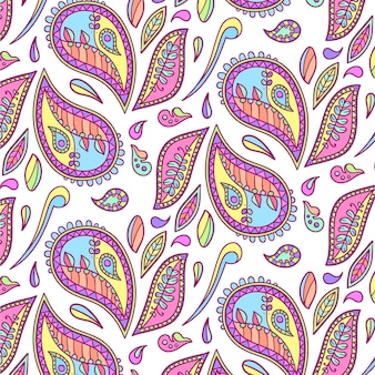 Kleurrijk getekend paisley patroon
