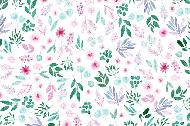 Kleurrijk getekende bloemen wallpaper
