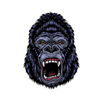 Kleurrijk gevaarlijk boos gorillahoofd