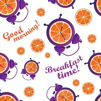 Kleurrijk gezond en leuk naadloos patroon met sinaasappels en wekkers