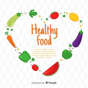 Kleurrijk gezond voedselmalplaatje als achtergrond