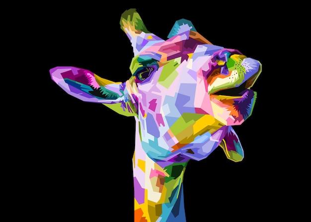 Kleurrijk girafhoofd dat op zwarte achtergrond wordt geïsoleerd.