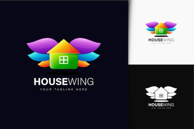 Kleurrijk gradiënthuisvleugel logo-ontwerp