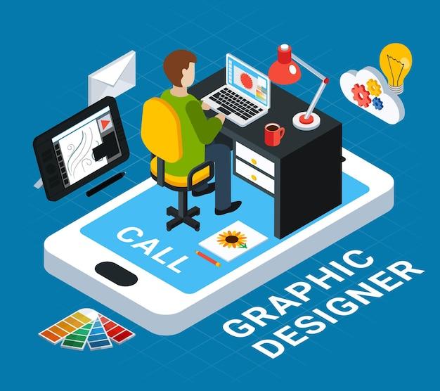 Kleurrijk grafisch concept met er op het zijn werk op blauwe 3d