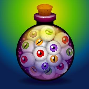 Kleurrijk halloween-flessenhoogtepunt van ogen