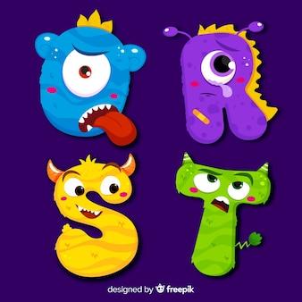 Kleurrijk halloween-monsteralfabet