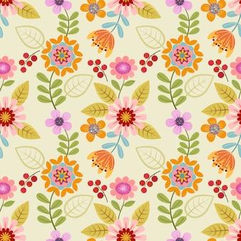 Kleurrijk hand getrokken bloemen naadloos patroon