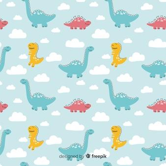 Kleurrijk hand getrokken dinosauruspatroon