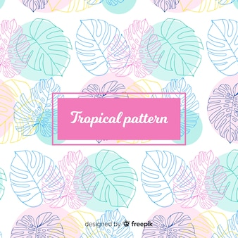 Kleurrijk hand getrokken tropisch patroon