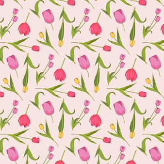 Kleurrijk hand getrokken tulpen bloemenpatroon op roze achtergrond