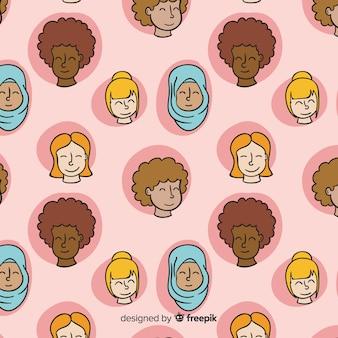 Kleurrijk hand getrokken vrouwenpatroon